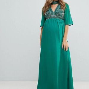 ASOS MATERNITY Deep V Neck Embellished Maxi Dress